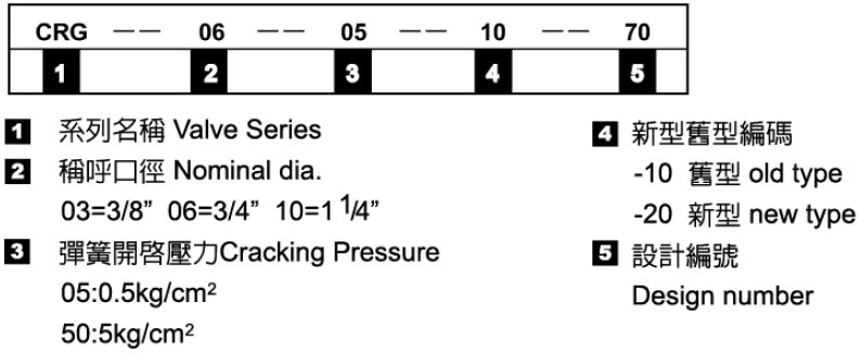 止逆閥-形式記號說明